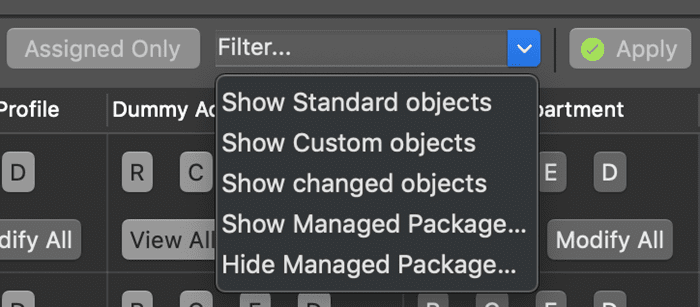 Predefined set of filters for objects in The Welkin Suite's Objects Permissions Editor