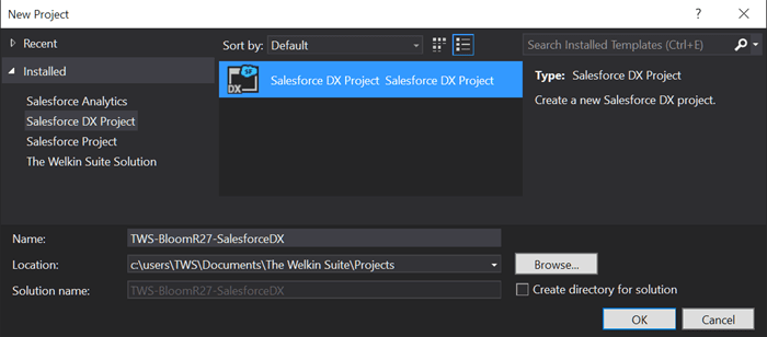 SalesforceDX project creation in The Welkin Suite