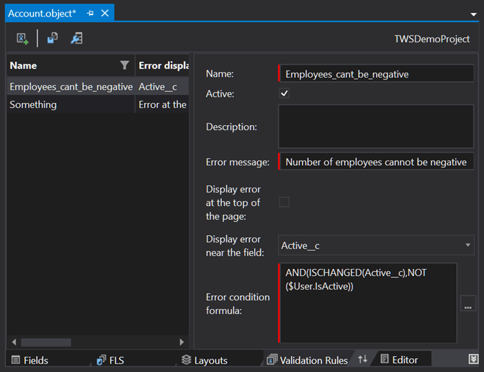 Editing Salesforce's Validation Rules in The Welkin Suite IDE