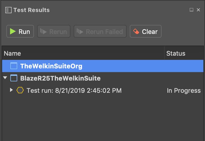 Test Results in The Welkin Suite shows information about unit tests in multiple organizations at the same time